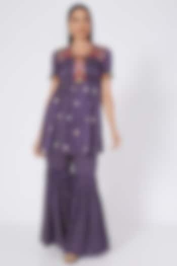 Purple Embroidered & Printed Tunic Set by Upasana Gupta