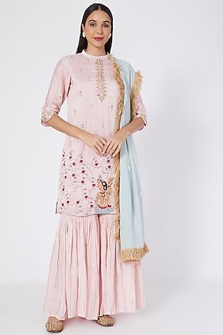 Pink Embroidered Sharara Set by Upasana Gupta