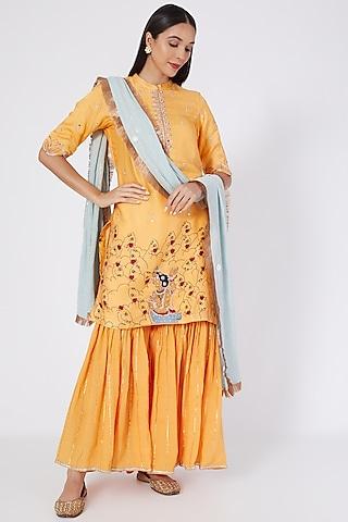 Orange Embroidered Sharara Set by Upasana Gupta