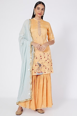 Orange Embroidered & Printed Sharara Set by Upasana Gupta