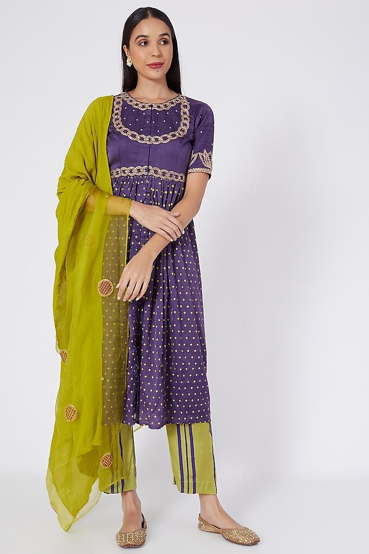 Purple Block Printed Kurta Set by Upasana Gupta