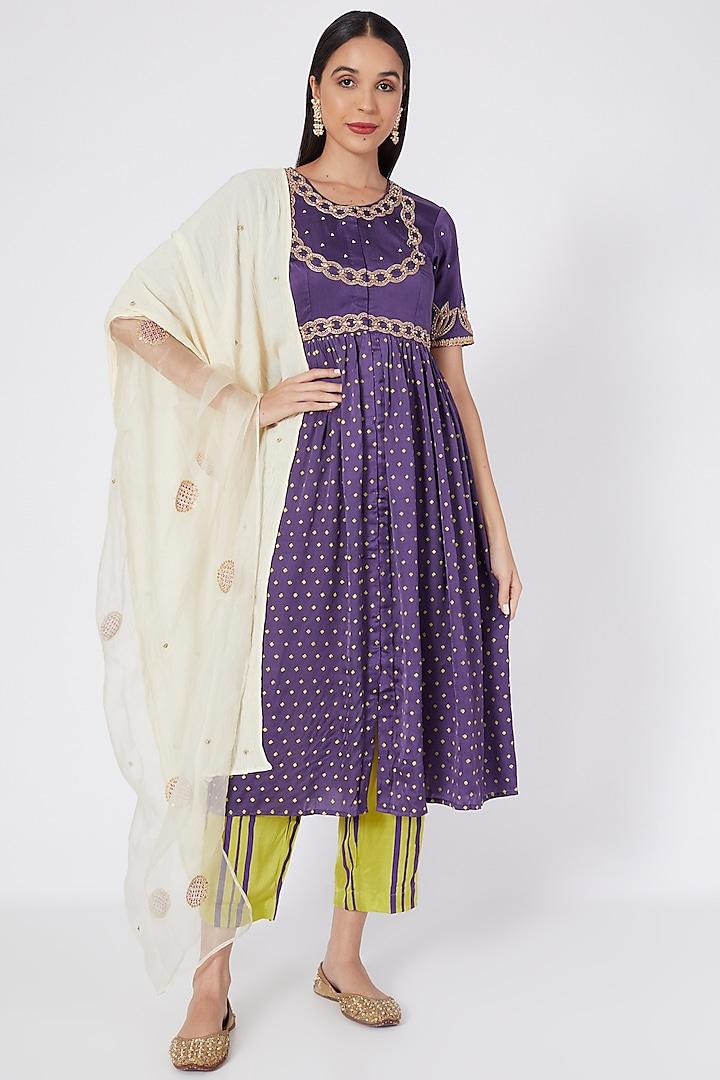 Purple Embroidered & Printed Kurta Set by Upasana Gupta