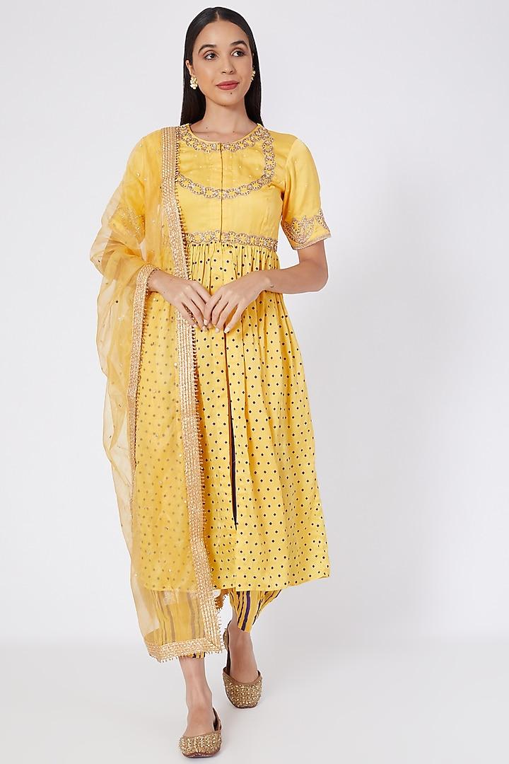 Yellow Embroidered & Block Printed Kurta Set by Upasana Gupta