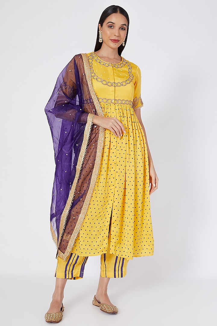Yellow Embroidered & Printed Kurta Set by Upasana Gupta