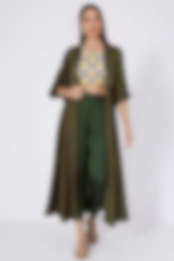 Mehendi Green Digital Printed Pant Set by Upasana Gupta