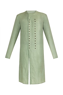 Mint Green Flat Neck Kurta by Unit by Rajat Suri