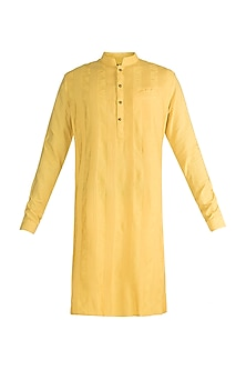 Yellow Embroidered Pintuck Kurta by Unit by Rajat Suri