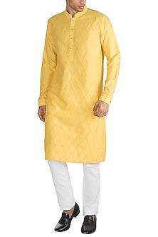 Yellow Embroidered Kurta by Unit by Rajat Suri