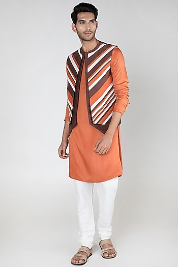 Multi Colored Layered Waistcoat by Unit by Rajat Suri