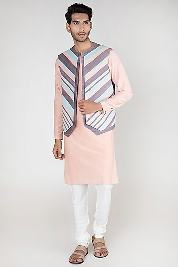 Multi Colored Panelled Waistcoat by Unit by Rajat Suri