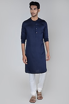 Navy Blue Flat Neck Kurta by Unit by Rajat Suri