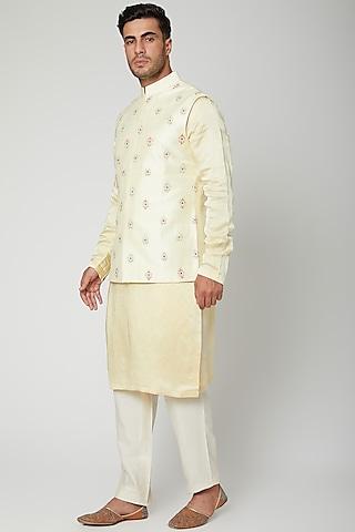 Lemon Yellow Embroidered Kurta Set by Unit by Rajat Suri