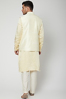 Lemon Yellow Embroidered Kurta Set by Unit by Rajat Suri