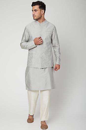 Grey Textured Kurta Set by Unit by Rajat Suri