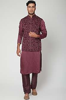 Wine Embellished Kurta Set by Unit by Rajat Suri
