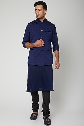 Navy Blue Bandhgala Waistcoat Set by Unit by Rajat Suri