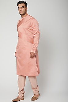 Peach Pleated Grid Kurta by Unit by Rajat Suri