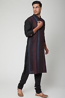 Navy Blue Pintuck Kurta by Unit by Rajat Suri