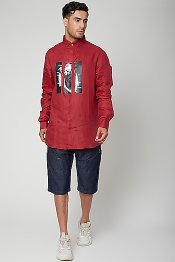 Red Digital Printed Shirt by Unit by Rajat Suri