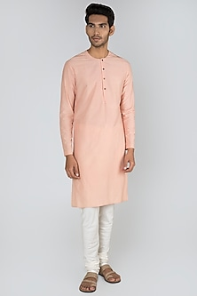 Peach Flat Neck Kurta by Unit by Rajat Suri