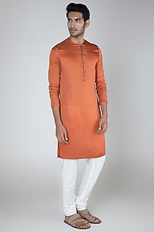 Rust Flat Neck Kurta by Unit by Rajat Suri