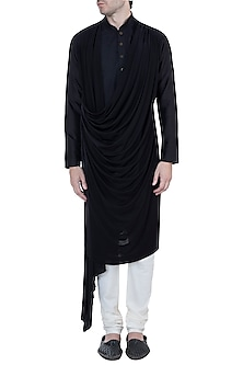 Black Embroidered Cowl Kurta by Unit by Rajat Suri