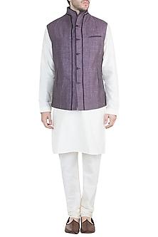 Grey Double Paneled Waistcoat by Unit by Rajat Suri