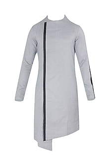 Black And White Textured Asymmetrical Kurta by Unit by Rajat Suri