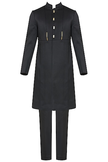 Black Metal Insert Long Bandhgala Jacket with Trousers by Unit by Rajat Suri