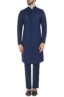 Navy Blue Metal Insert Long Bandhgala Jacket with Trousers by Unit by Rajat Suri