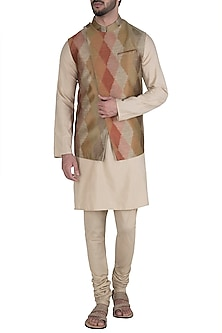 Rust Diagonal Cut Waist Coat by Unit by Rajat Suri