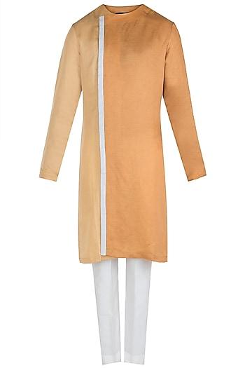 Ochre Colour Block Stripe Kurta with Pants by Unit by Rajat Suri