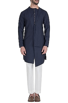 Navy Blue Side Lapel Embroidered Kurta with Pants by Unit by Rajat Suri