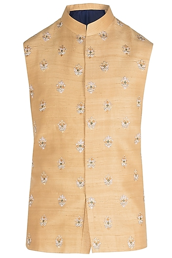 Mustard Embroidered Waist Coat by Unit by Rajat Suri