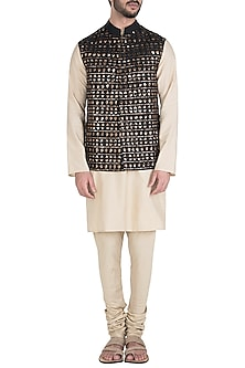 Black Embroidered Waist Coat by Unit by Rajat Suri