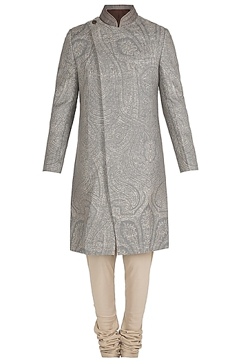 Mud Grey Zardozi Jacquard Bandhgala Jacket with Pants by Unit by Rajat Suri