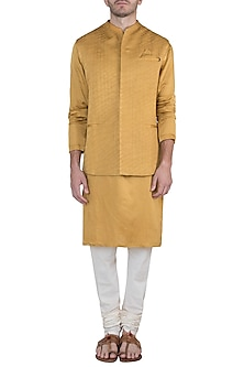 Yellow textured waistcoat by Unit by Rajat Suri