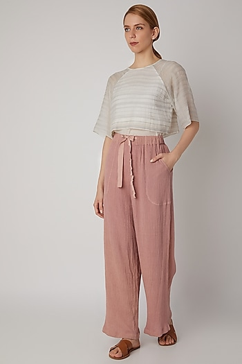 Blush Pink Viscose Cotton Pants by Urvashi Kaur
