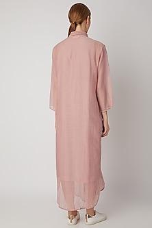 Blush Pink Chanderi Silk Kaftan by Urvashi Kaur