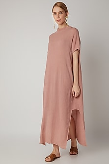 Blush Pink Viscose Cotton Kaftan by Urvashi Kaur