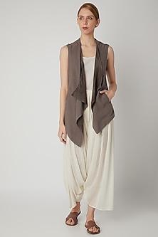 Brown Reversible Waistcoat by Urvashi Kaur