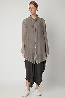 Grey Chanderi Silk Tunic by Urvashi Kaur