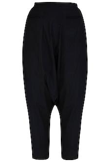 Black Drop Crotch Pants by Kapda By Urvashi Kaur