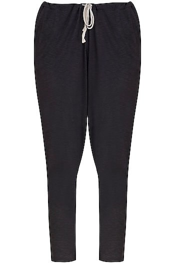 Dark Grey Low Crotch Jogger Pants by Kapda By Urvashi Kaur