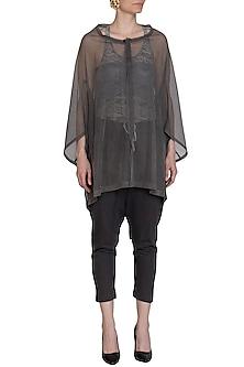 Grey Mesh Oversized Jacket by Kapda By Urvashi Kaur