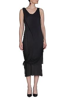 Dark Grey Layered Long Dress by Kapda By Urvashi Kaur