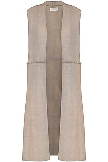 Light Grey Long Sleeveless Jacket by Kapda By Urvashi Kaur