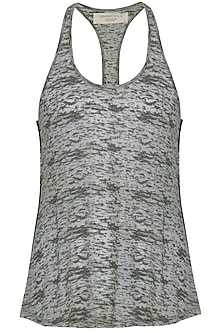 Dark Grey Racerback T-Shirt by Kapda By Urvashi Kaur