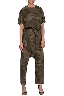 Khaki Camouflage Jogger Pants by Kapda By Urvashi Kaur