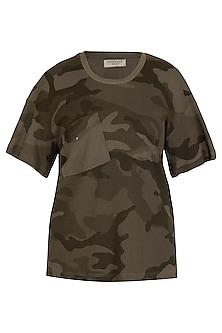 Khaki Camouflage T-Shirt by Kapda By Urvashi Kaur